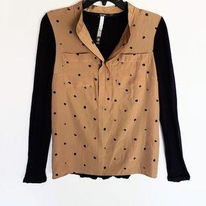 Kensie Tan & Black Long Sleeve Top